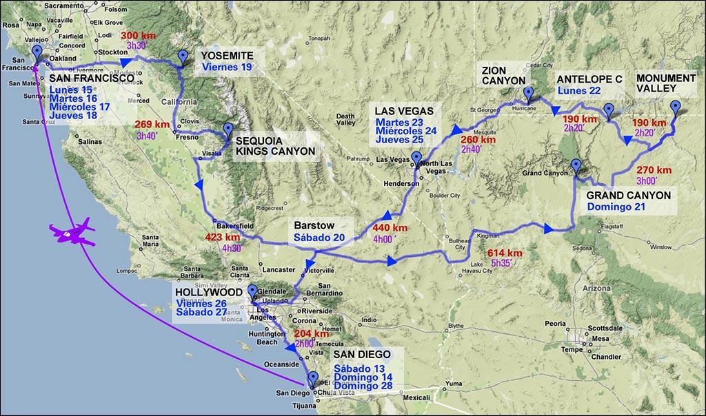 Itinerario para un viaje de 18 días por la Costa Oeste de USA