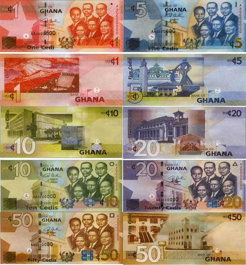 Billetes de cedis, divisa en Ghana