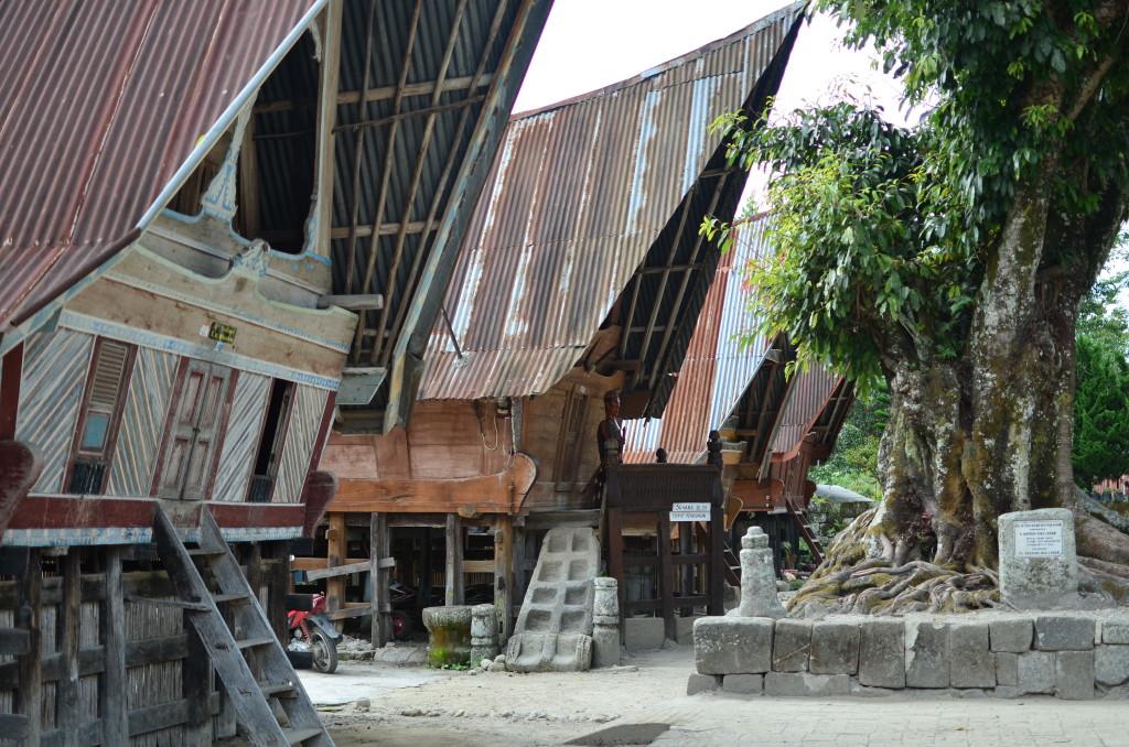 Casas tradicionales en Sumatra