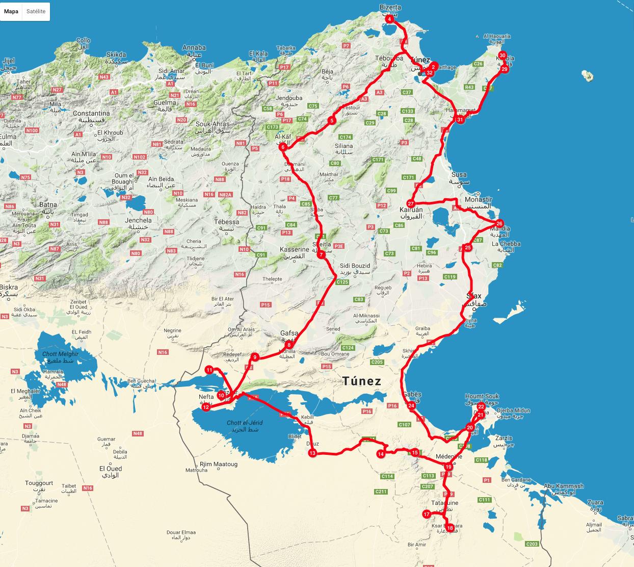 Mapa ruta tunez