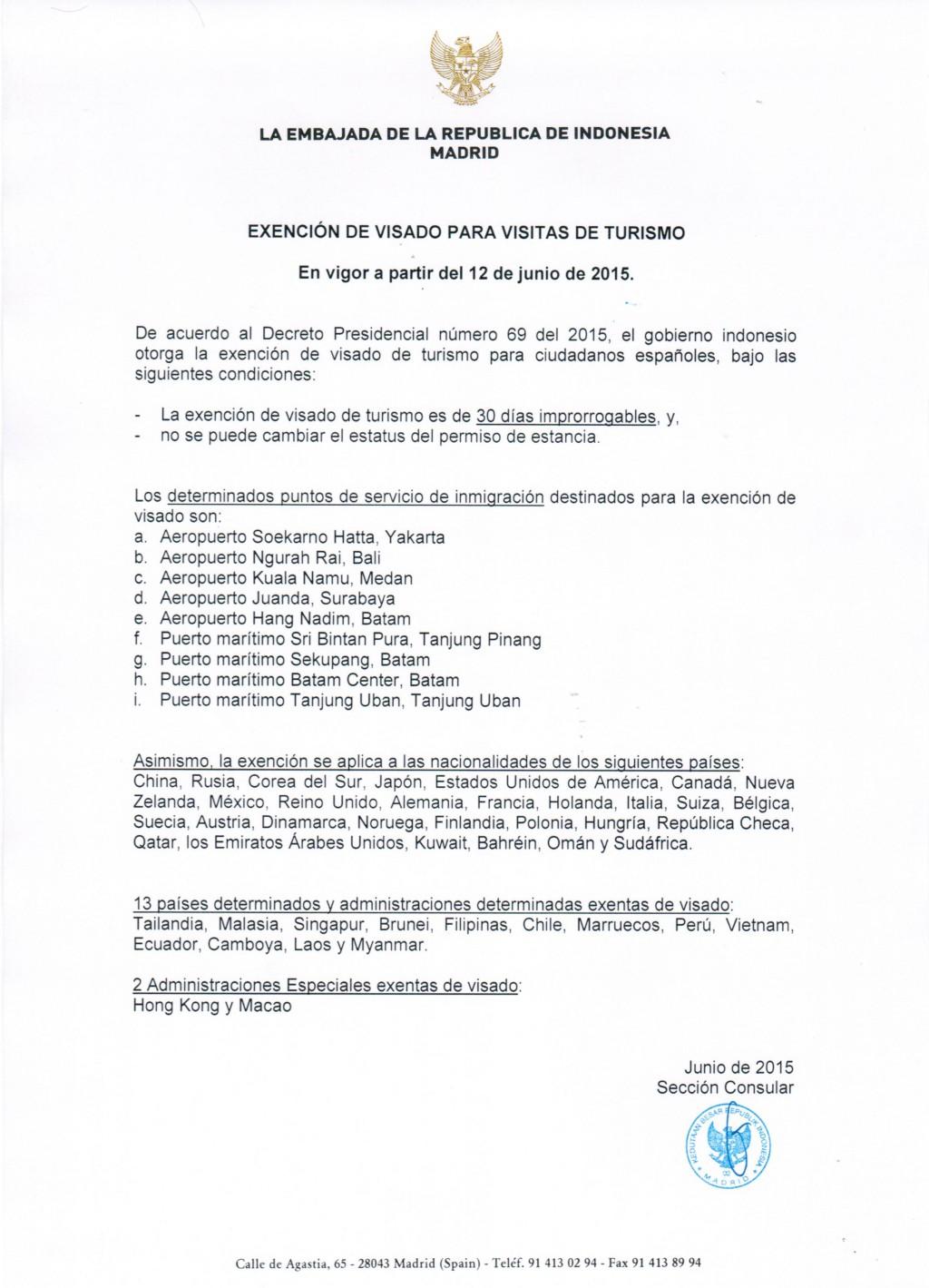 Exencion-de-Visado Indonesia